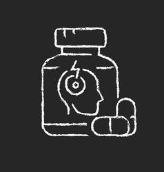 Pills for headache chalk white icon on dark vector