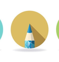 Polygonal Pencil Icons with shadow vector