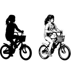Preschooler girl riding bicycle sketch vector