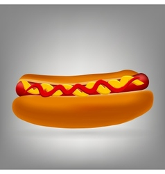 Realistic hot dog icon vector image