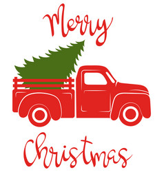 red pickup with christmas tree traditional vector image
