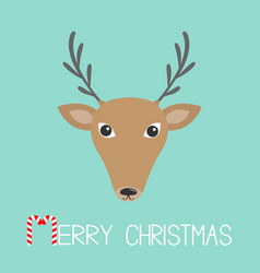 Reindeeer head merry christmas candy cane cute vector
