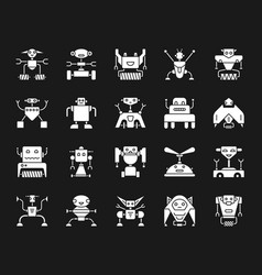 robot white silhouette icons set vector image