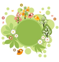 round frame with birds and flowers vector image