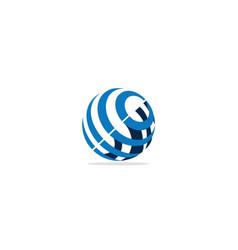 round globe sphere technology logo vector image