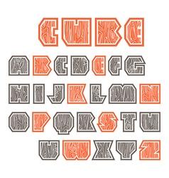 Sans serif decorative font cube vector