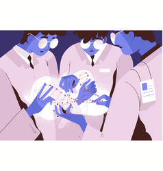 scientists researchers or geneticists holding dna vector image