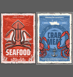Seafood squid and crab meat retro posters vector