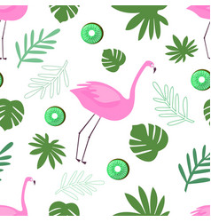 Seamless pattern flamingo with leaves and fruit vector