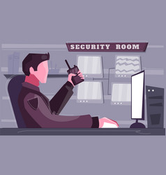 Security room flat background vector
