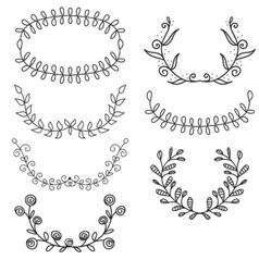 Set from laurel wreath on the white heraldic vector