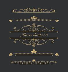Set gold calligraphic vector