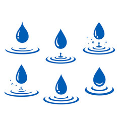 set of blue water drop and splash vector image