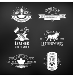 Set of vintage craft logo designs retro genuine vector
