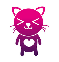 Silhouette happy cat cute feline animal vector