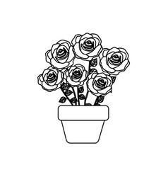 Silhouette roses in pot with stem and leaves vector