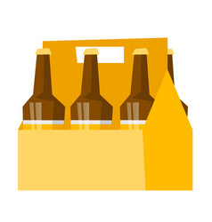 Six-pack with bottles of beer cartoon vector