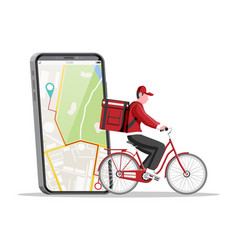 smartphone with app and man riding bicycle vector image