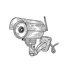 Surveillance camera sketch engraving vector