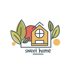 sweet home logo template design eco friendly vector image
