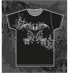 T-shirt design with vintage floral element vector