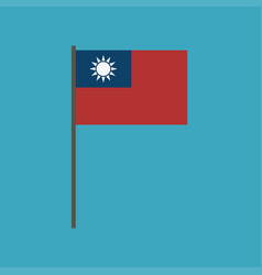 taiwan flag icon in flat design vector image
