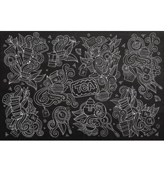 Tea time doodles hand drawn chalkboard vector image