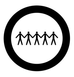 team work concept icon black color in circle vector image