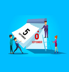Teamwork organize project tear-off calendar vector