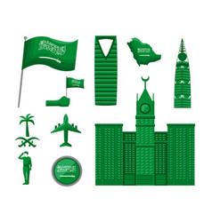 Ten saudi national day icons vector