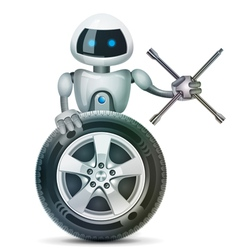 The robot with a wheel and a wheel brace vector