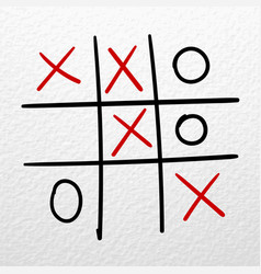 tic tac toe hand drawn game on a white vector image