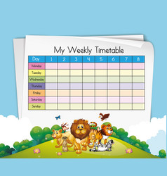 Timetable template with many animals vector