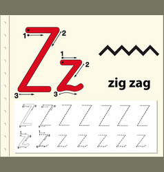 Tracing alphabet template for letter z vector