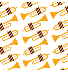 trumpet jazz instrument seamless pattern image vector image
