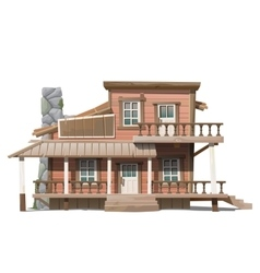 Two-storey wooden cottage with stone chimney vector