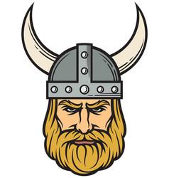 viking head - mascot cartoon with horned helmet vector image