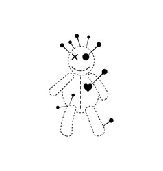 Voodoo doll halloween concept line cartoon icon vector