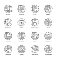 web development line icons 4 vector image