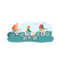 woman and men friends riding bicycles in park or vector image