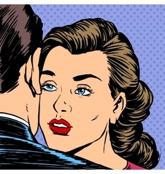 Woman hugging man with the sad face parting love vector