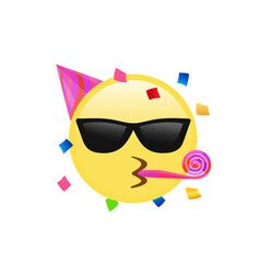 yellow kissing mouth icon with sunglasses party vector image