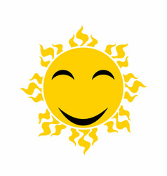 yellow smiling sun - cartoon vector image