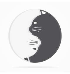 Yin yang cats logo of harmony and balance vector