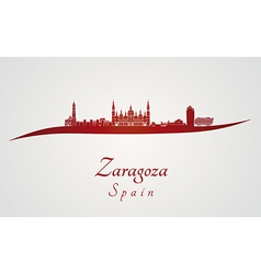 Zaragoza skyline in red vector image