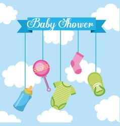 baby shower lettering hanging elements decoration vector image