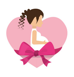 cute mom pregnancy heart and ribbon vector image