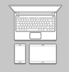 gadget and device thin line mockup set vector image