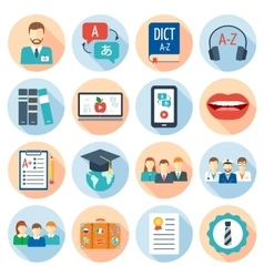 Icons set for foreign language courses and schools vector