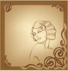 roaring 20-s art nouveau beackground with blond vector image vector image